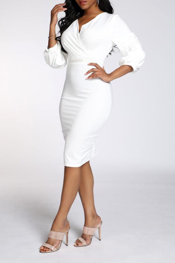 Lovely Work V Neck Skinny White Knee Length OL Dress