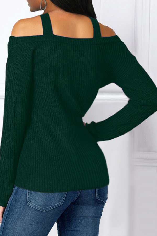 Lovely Casual Halter Blackish Green Sweater