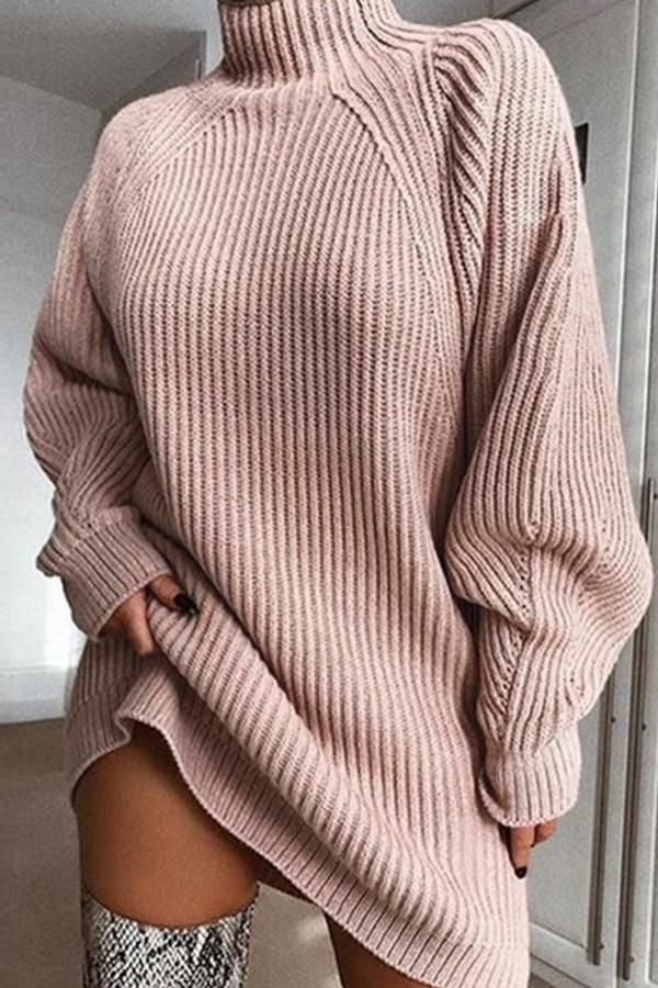 Lovely Casual Turtleneck Pink Mini Dress