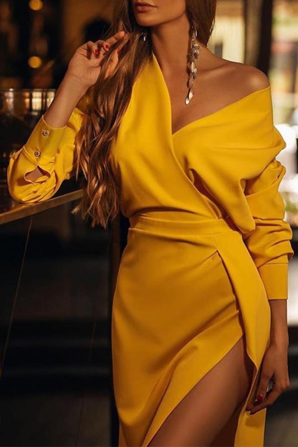 Lovely Trendy V Neck Yellow Knee Length Dress