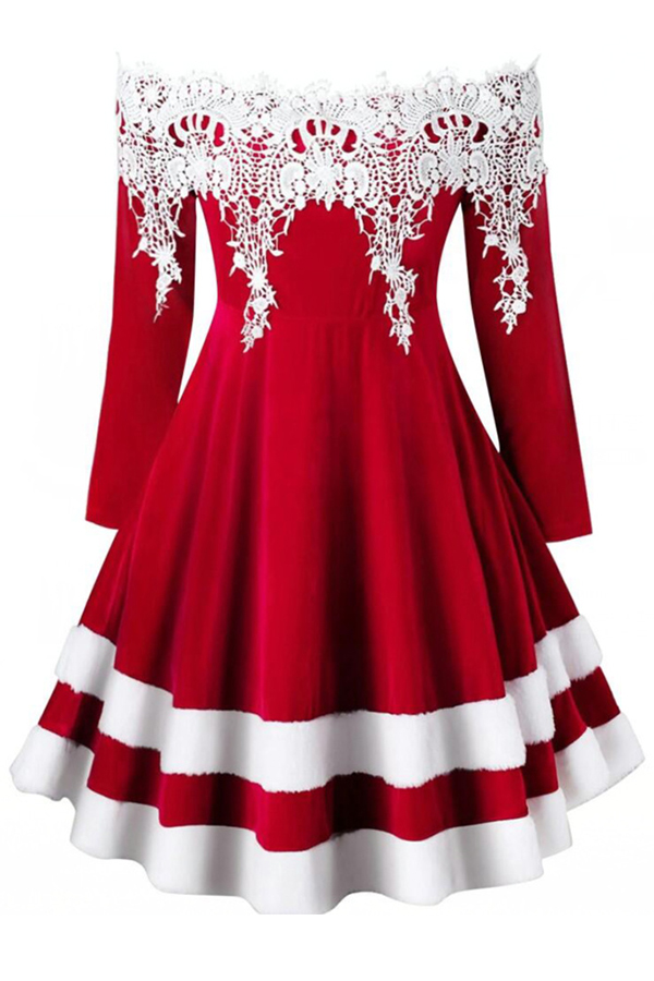 lovelywholesale / Cheap Daily Dress Lovely Sweet Patchwork Red Knee Length Dress