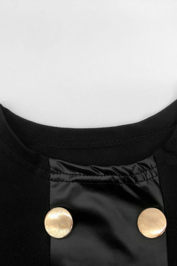 Lovely Casual Buttons Design Black T-shirt