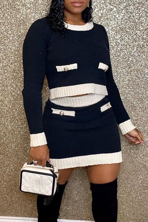 Shop LovelyWholeSale.com - casual o neck black two-piece skirt set