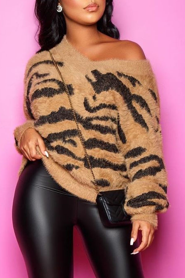 Shop LovelyWholeSale.com - casual v neck striped brown sweater