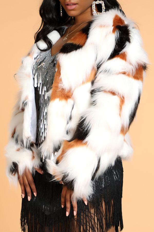 Lovely Stylish Patchwork Multicolor Faux Fur Coat