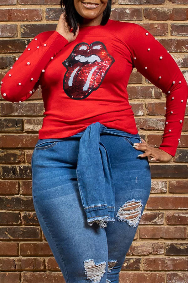 Lovely Casual Lip Print Red Plus Size T-shirt