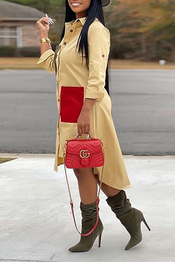 Lovely Casual Color-lump Patchwork Yellow Mid Calf Dress