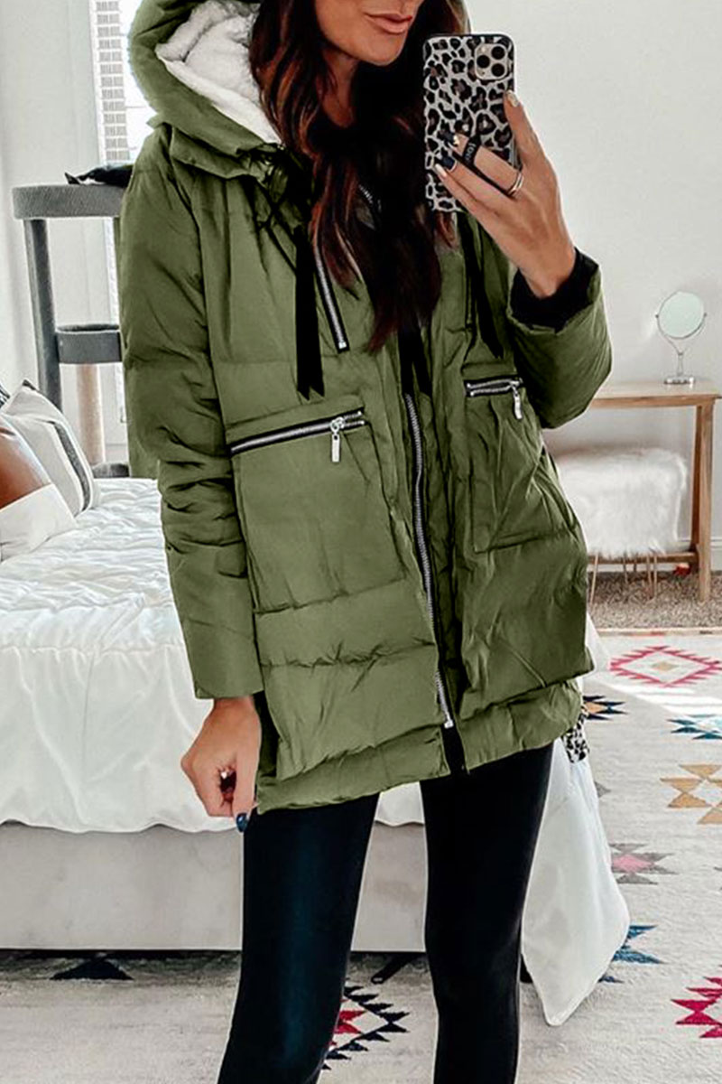 Lovely Winter Hooded Collar Army Green Coat