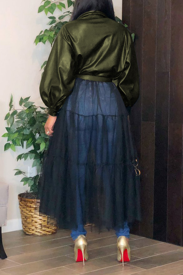 Lovely Leisure Patchwork Green Coat