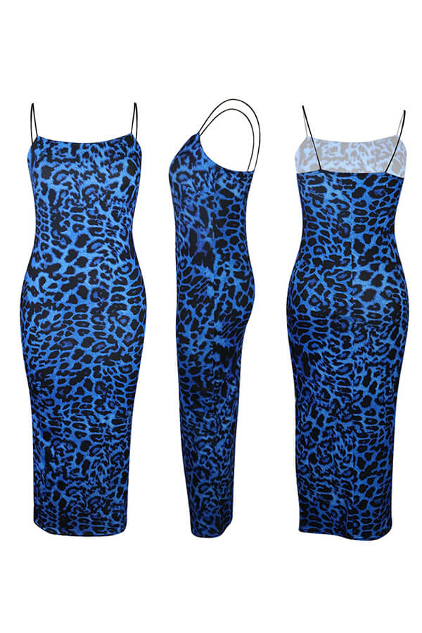 Lovely Sexy Spaghetti Straps Leopard Printed Blue Ankle Length Dress