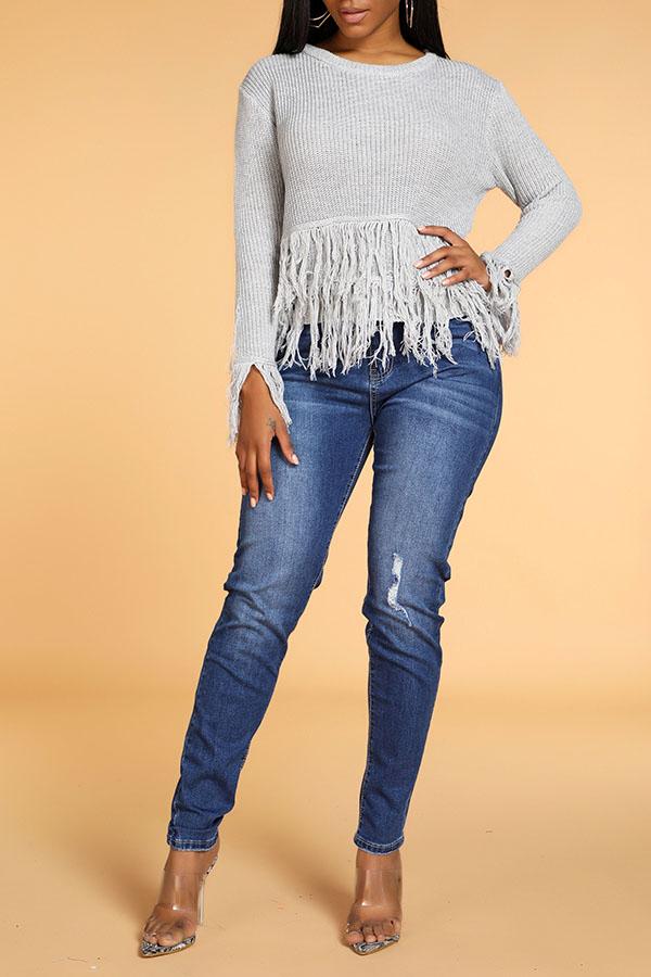 Lovely Trendy Tassel Design Grey Sweater