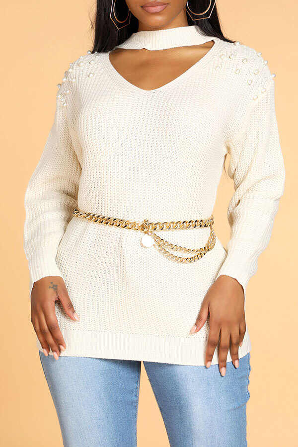 Lovely Casual Hollow-out Beige Sweater