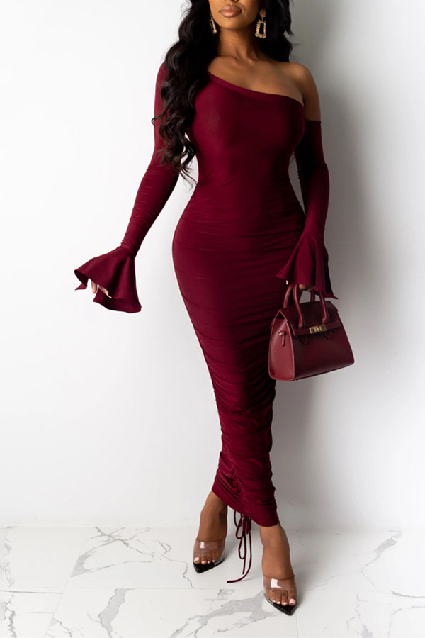 Lovely Sweet Dew Shoulder Wine Red Ankle Length Dress