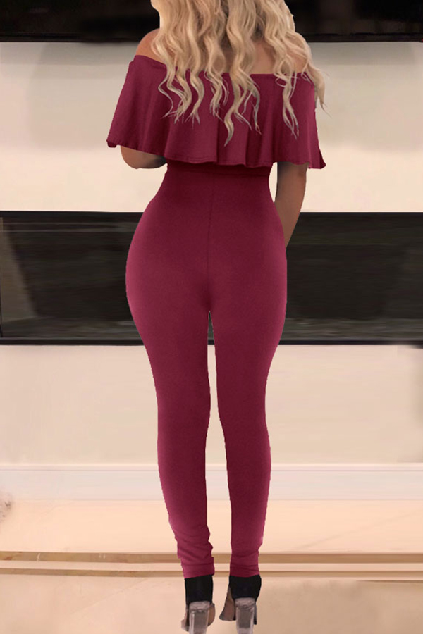 Lovely Chic Hollow-out Wine Red One-piece Jumpsuit
