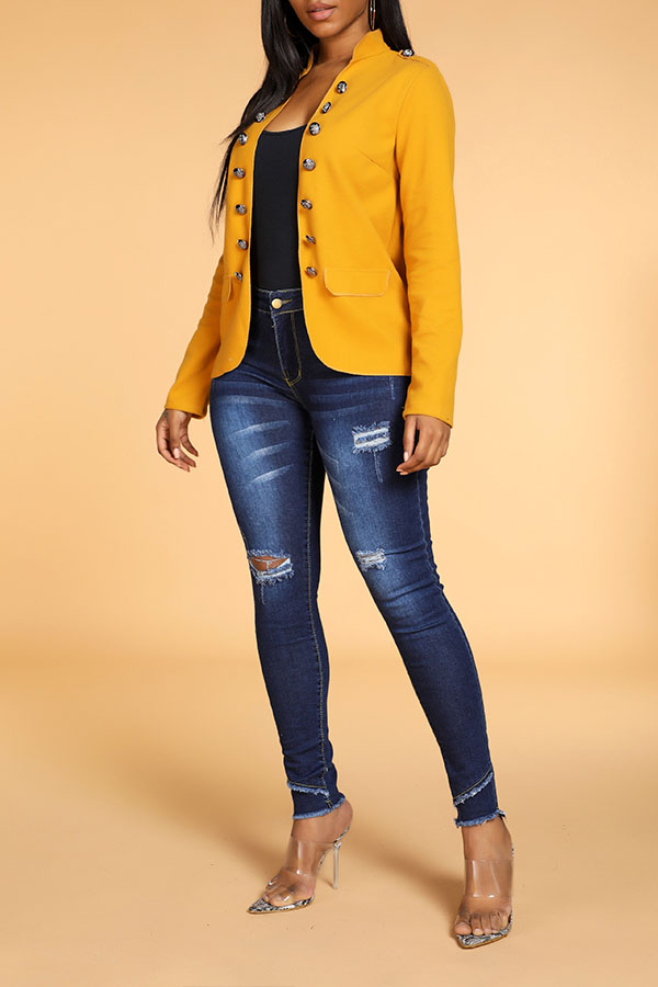 Lovely Leisure Buttons Design Yellow Blazer