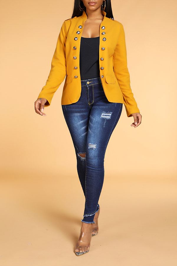 Lovely Leisure Buttons Design Yellow Blazer