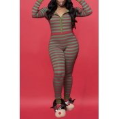 Lovely Christmas Day Striped Green One-piece Jumps