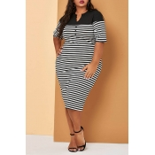 Lovely Casual Striped Black Mid Calf Plus Size Dress