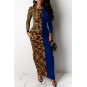 Lovely Casual Patchwork Blue Ankle Length Dress