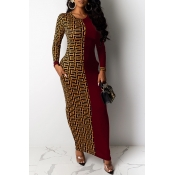 Lovely Casual Printed Wine Red Ankle Length Plus S