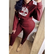 Lovely Casual Hooded Collar Wine Red Two-piece Pants Set