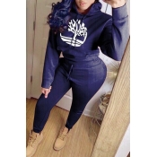 Lovely Casual Hooded Collar Dark Blue Two-piece Pants Set