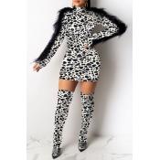 Lovely Party Tassel Design Leopard White Mini Dress