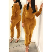 Lovely Leisure Basic Gold Two-piece Pants Set
