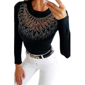 Lovely Casual O Neck Patchwork Black Sweater