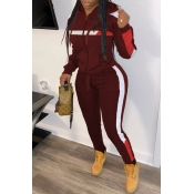Lovely Trendy Hooded Collar Patchwork Wine Red Two-piece Pants Set