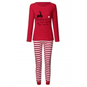 Lovely Family Striped Red Mother Two-piece Pants S