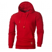 Lovely Casual Hooded Collar Ruffle Design Red Hood