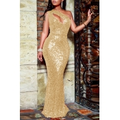Lovely Party One Shoulder Hollow-out Gold Floor Length Evening Dres