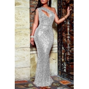Lovely Party One Shoulder Hollow-out Silver Floor