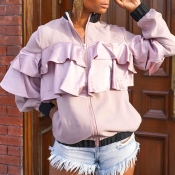 Lovely Casual Flounce Design Light Pink Coat