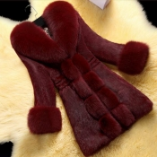 Lovely Casual Patchwork Wine Red Long Coat