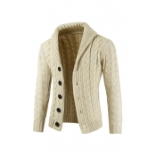 Lovely Casual Buttons Design Beige Cardigan