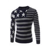 Lovely Casual Star Striped Navy Blue Sweater