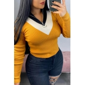 Lovely Casual Turtleneck Color-lump Patchwork Yell