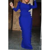 Lovely Casual Flounce Design Blue Floor Length Dre