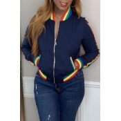 Lovely Casual Patchwork Deep Blue Jacket