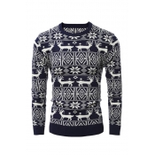 Lovely Christmas Day Printed Navy Blue Sweater