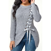 Lovely Trendy Bandage Design Grey Sweater