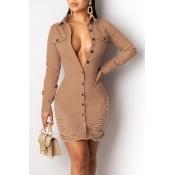 Lovely Trendy Turndown Collar Buttons Design Khaki Mini Dress