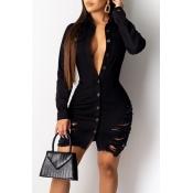 Lovely Trendy Turndown Collar Buttons Design Black Mini Dress