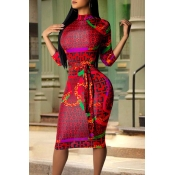 Lovely Casual Printed Skinny Red Knee Length Dress