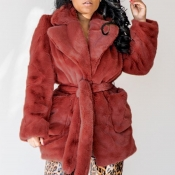 Lovely Casual Lace-up Wine Red Coat