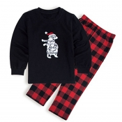 Lovely Family Plaid Printed Black Kids Two-piece P