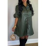 Lovely Casual Turndown Collar Army Green Mini Dress