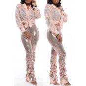 Lovely Trendy Ruffle Design Pink Two-piece Pants S